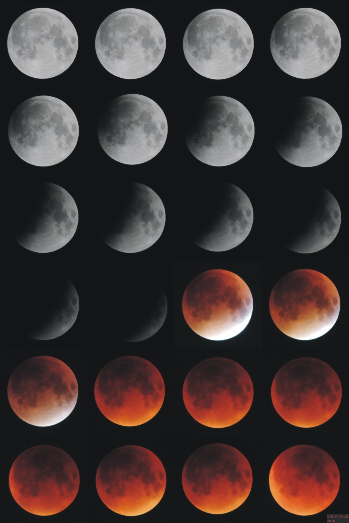 Composite mosaic following the progress of the September 2015 total Lunar Eclipse
