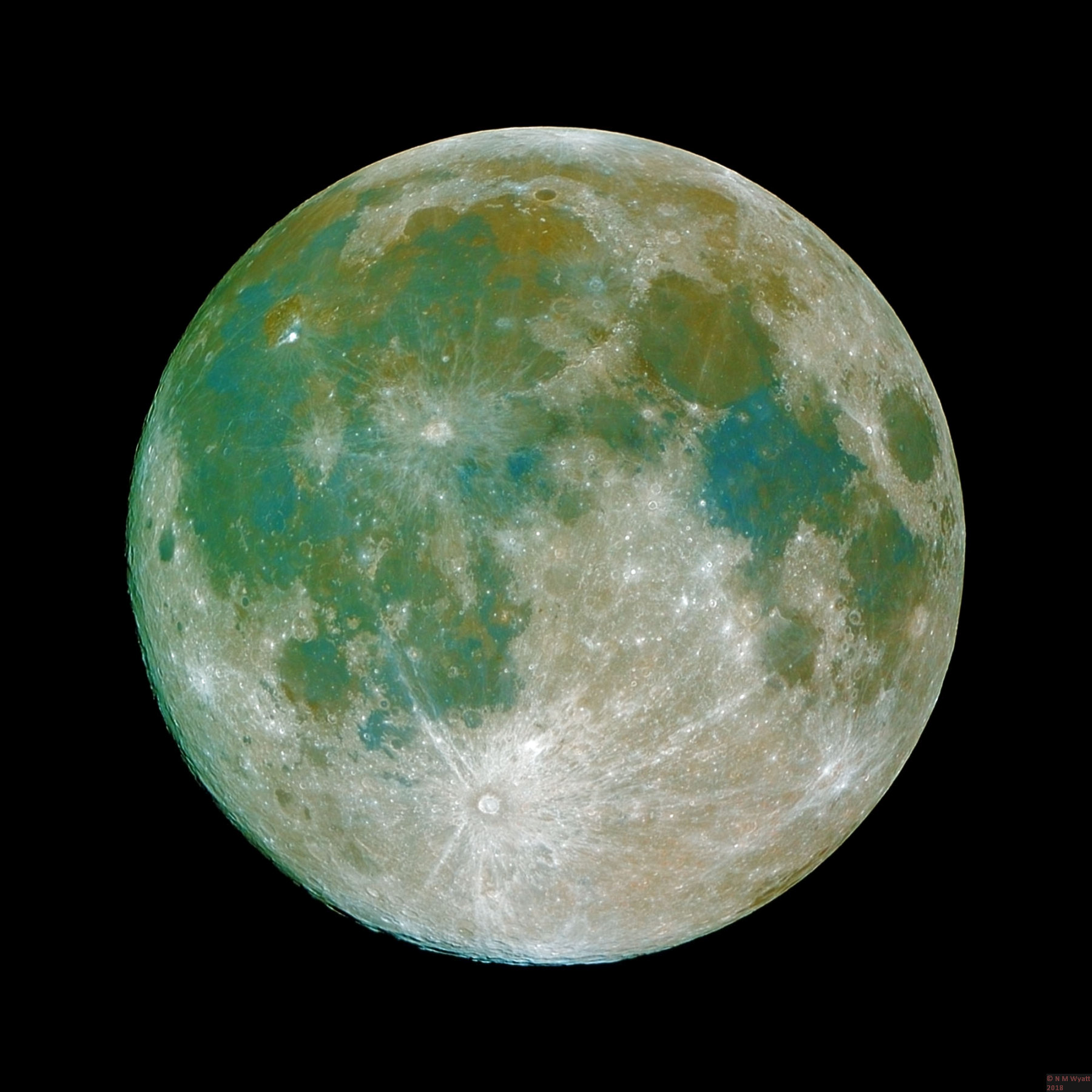 The moon in enhanced colour