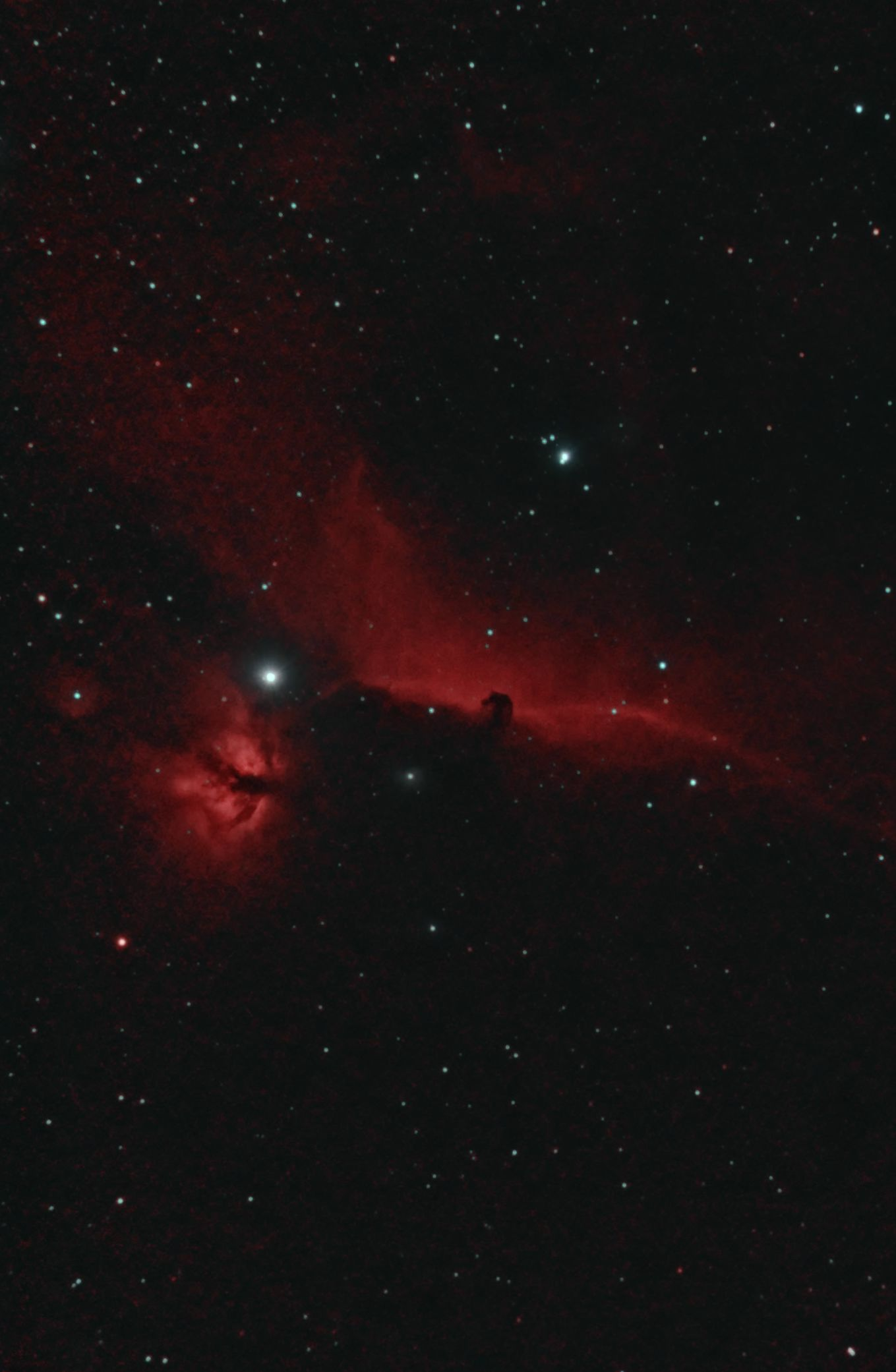 The Flame and Horsehead Nebulas near the star Alnitak in Orion