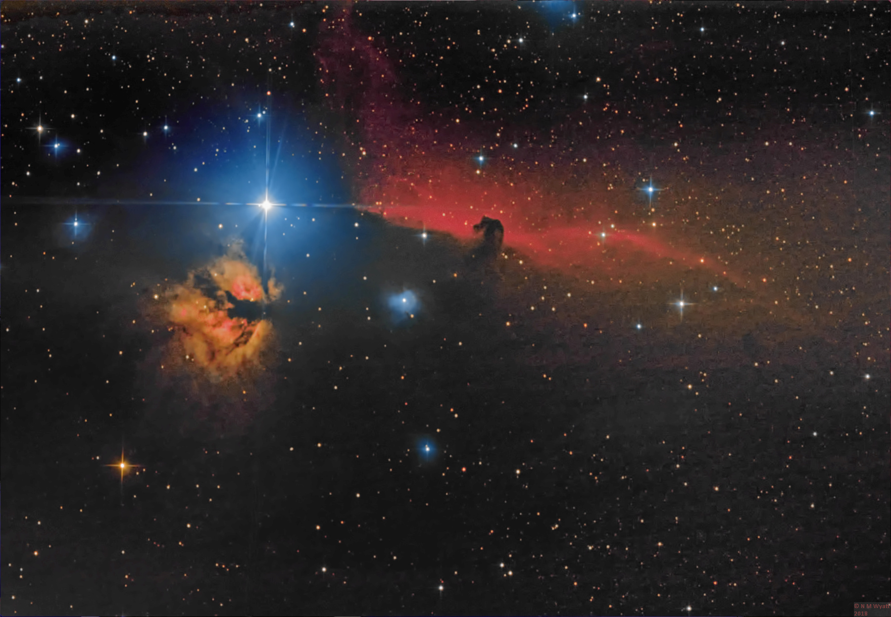 The bFalme and Horsehead Nebulas in Orion