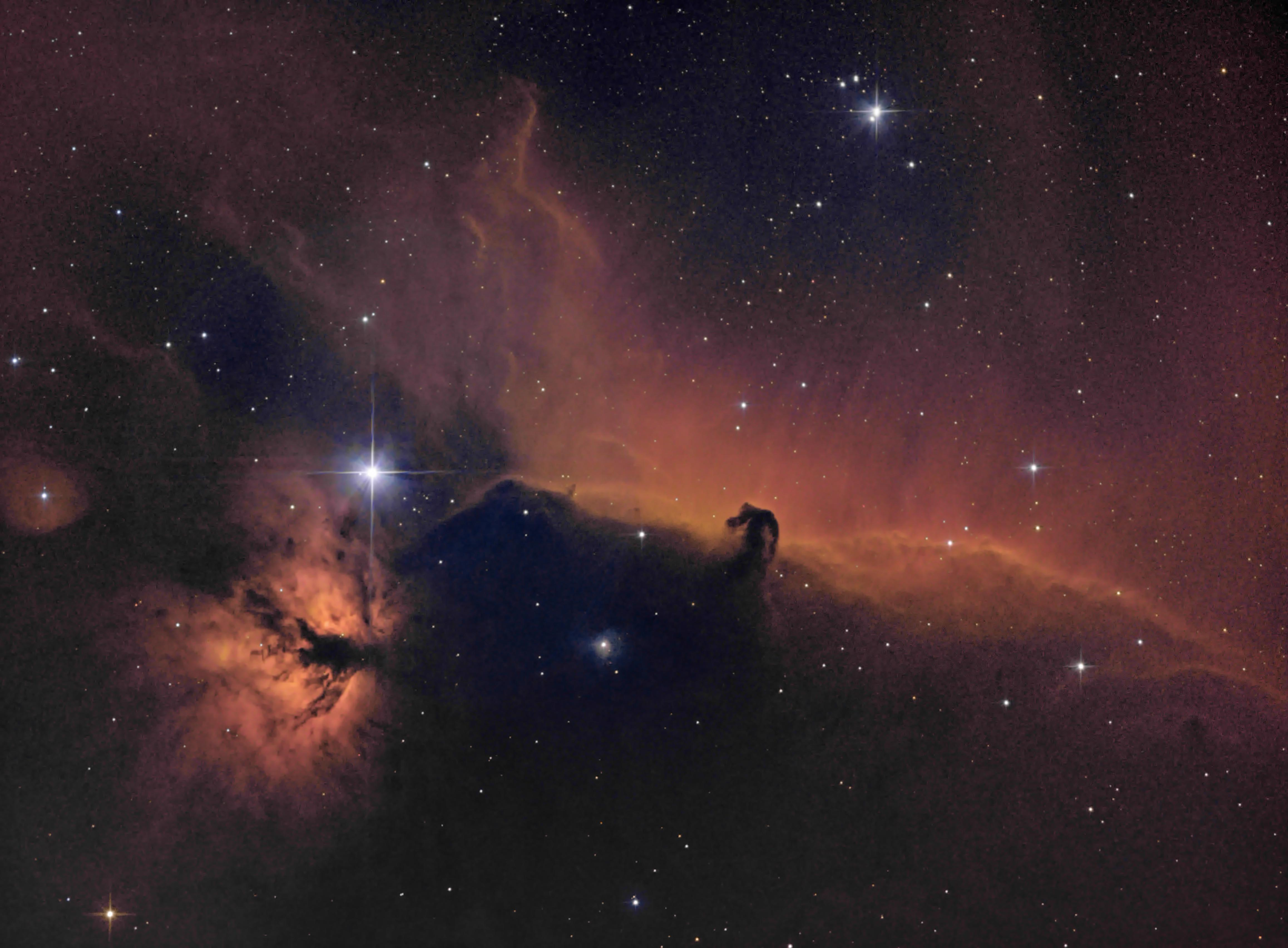 The Horsehead and Flame Nebulas, imaged in narrowband