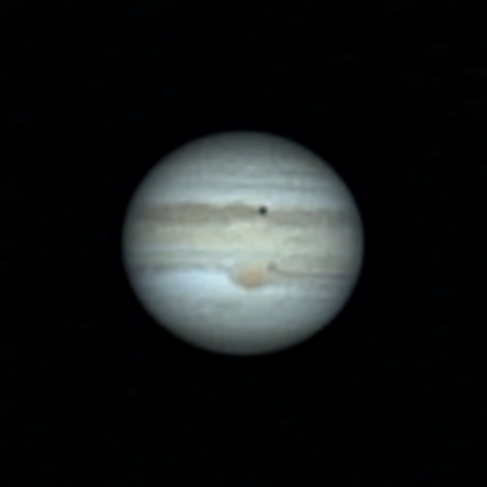 Jupiter with Io and its shadow, as well as the red spot.