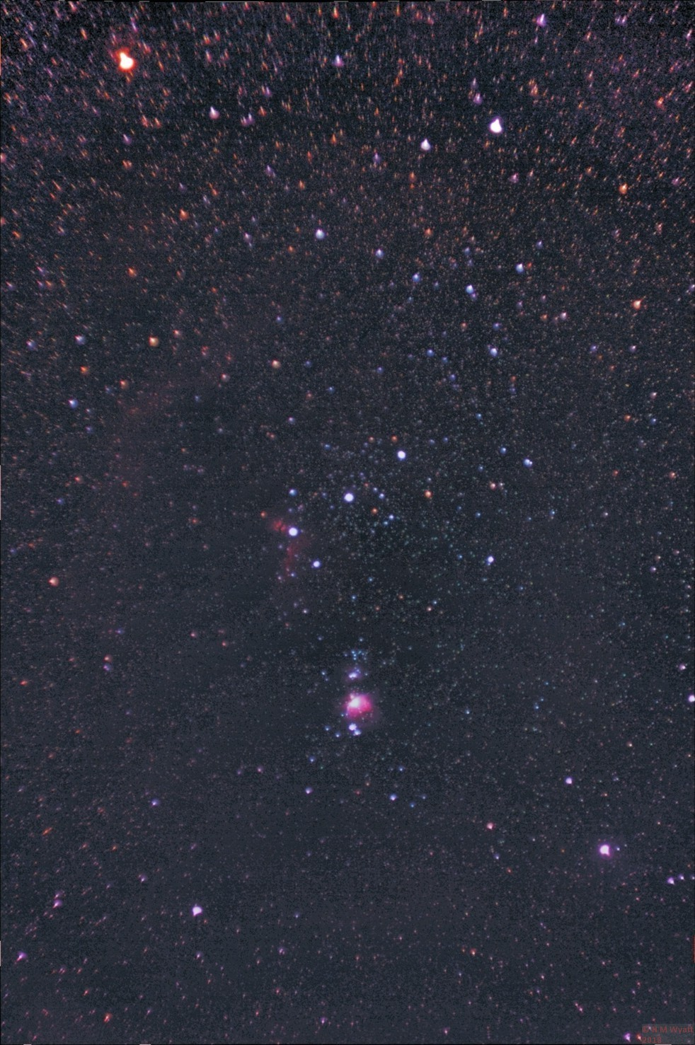 The constellation of Orion showing several nebulas and Barnards Loop