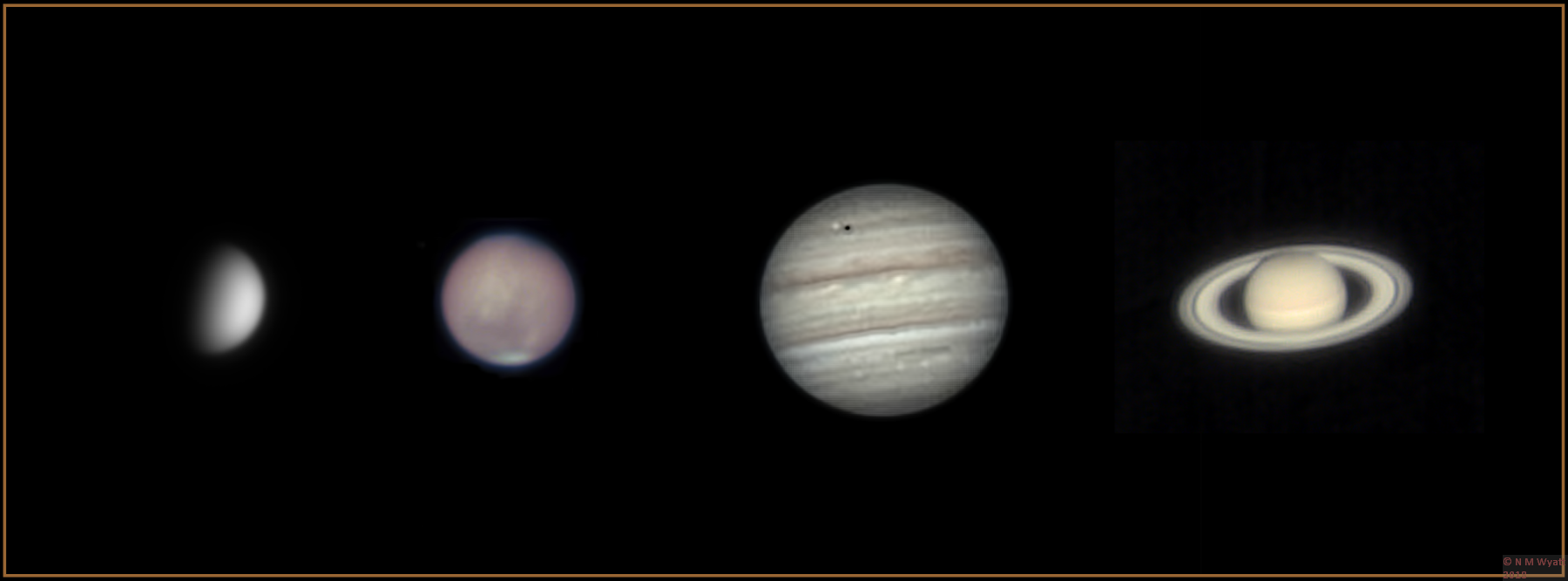 Venus, Mars, Jupiter and Saturn, imaged in the summer of 2018