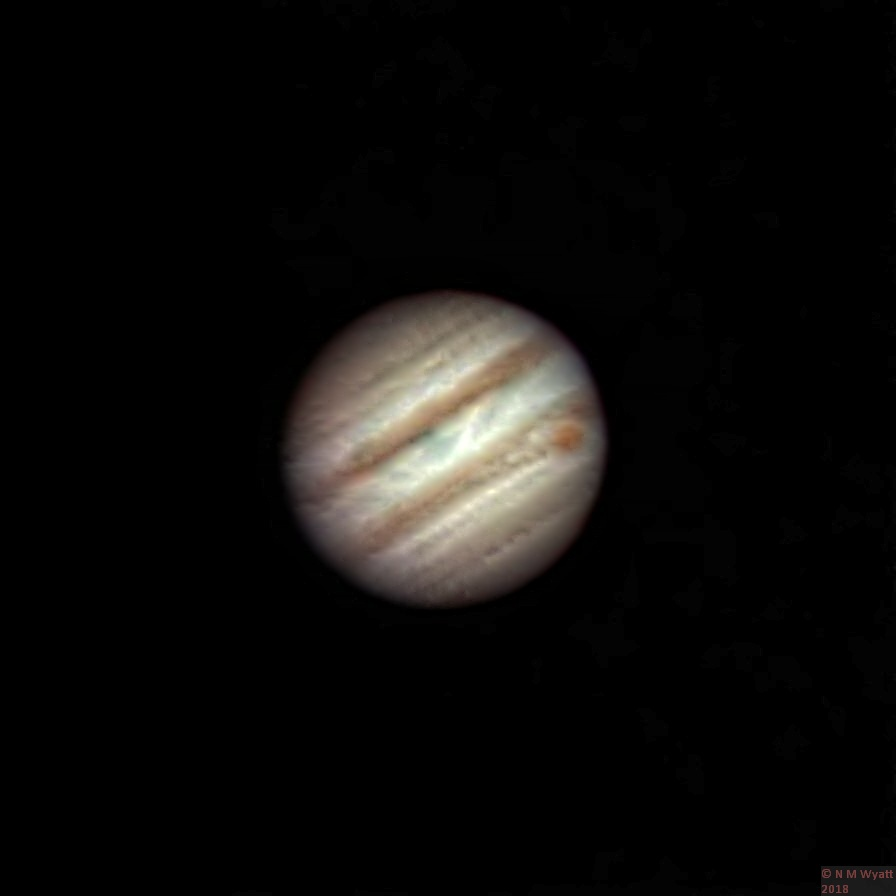 Jupiter showing the red spot and cloud bands