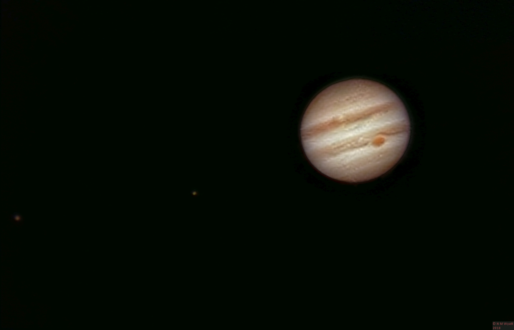 Ganymede, Io and Jupiter with the Great Red Spot