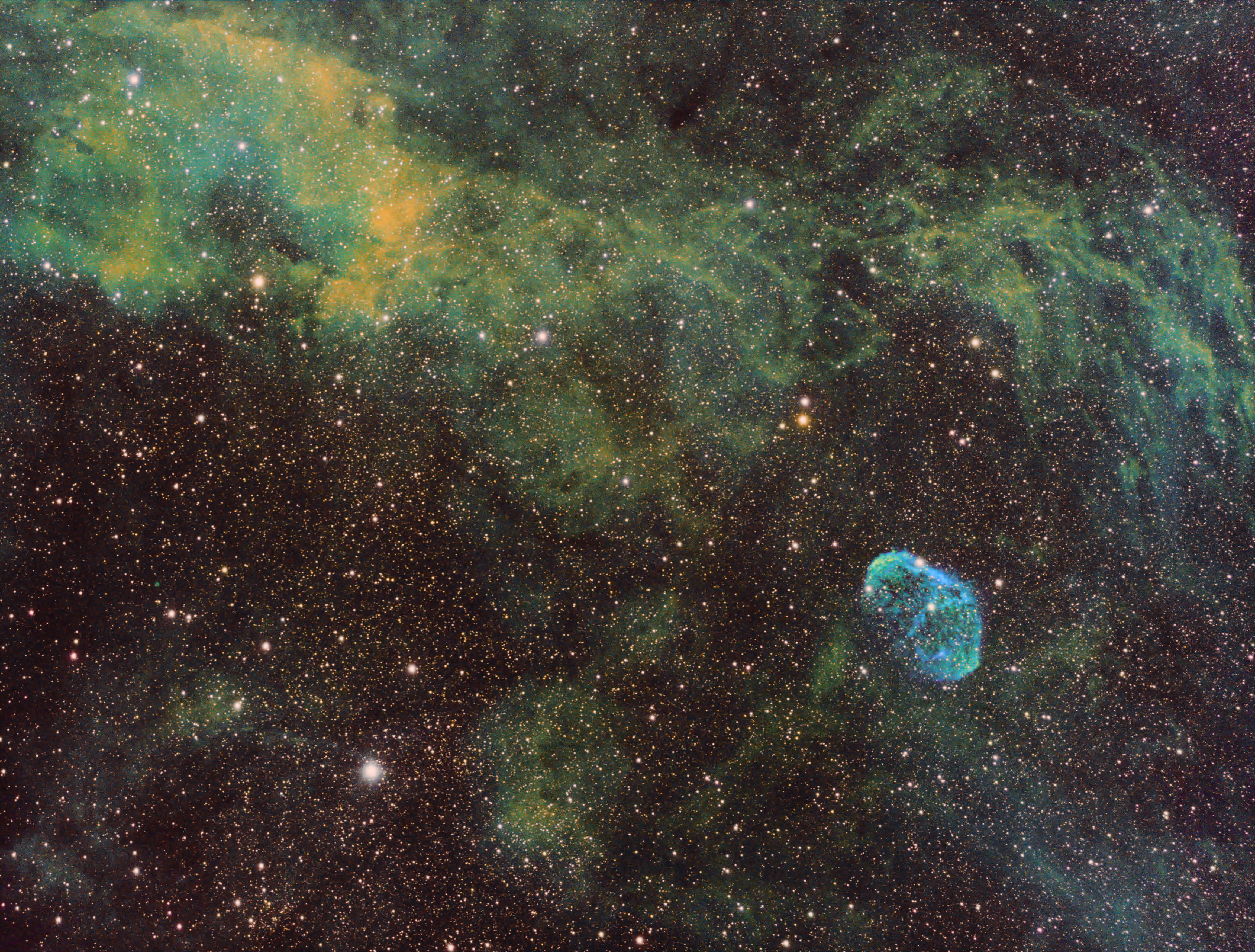 The Crescent Nebula in SHO narrowband