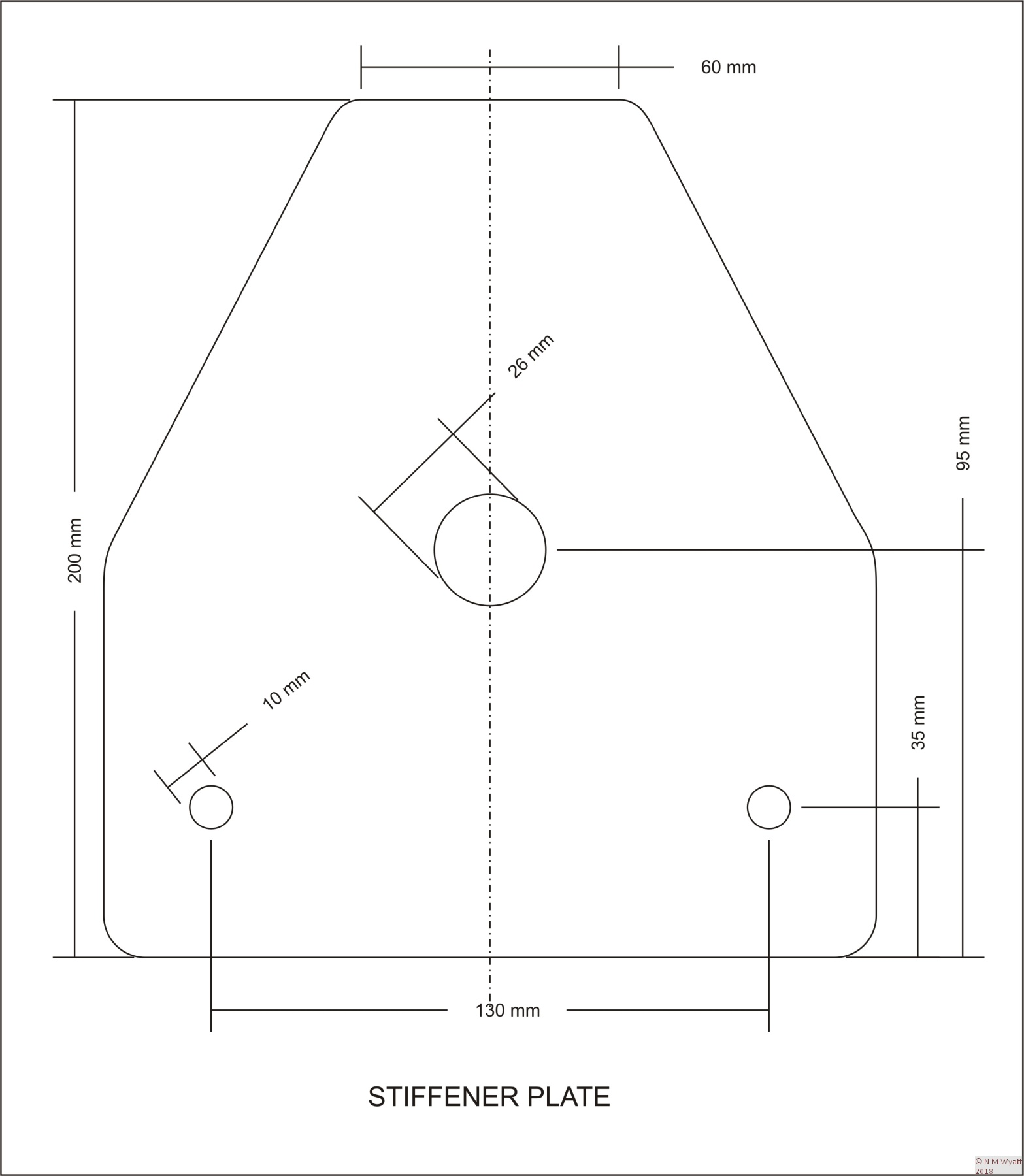 Dimensions for an X2 Mill Stiffening Plate