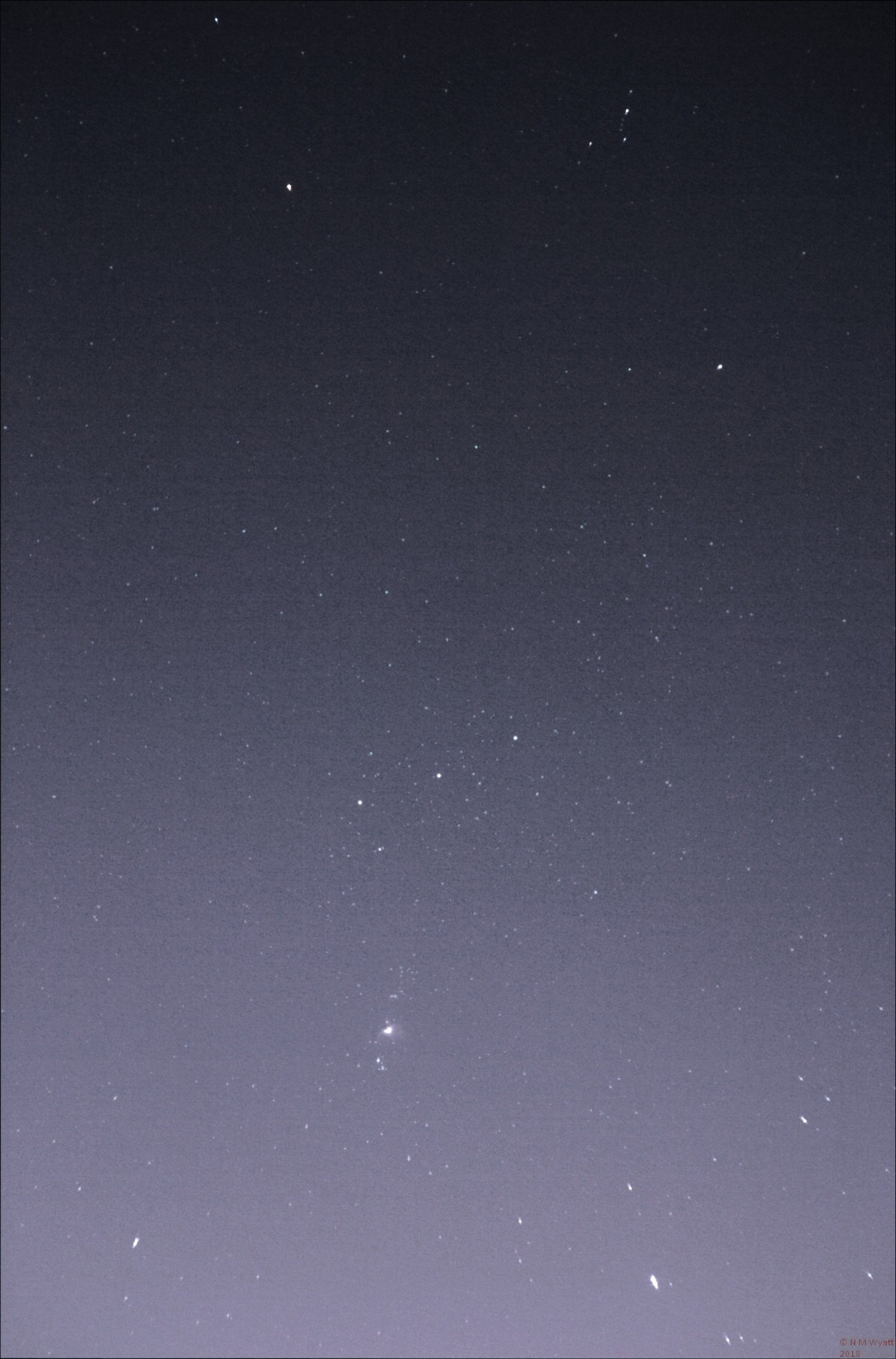 A short exposure image of Orion