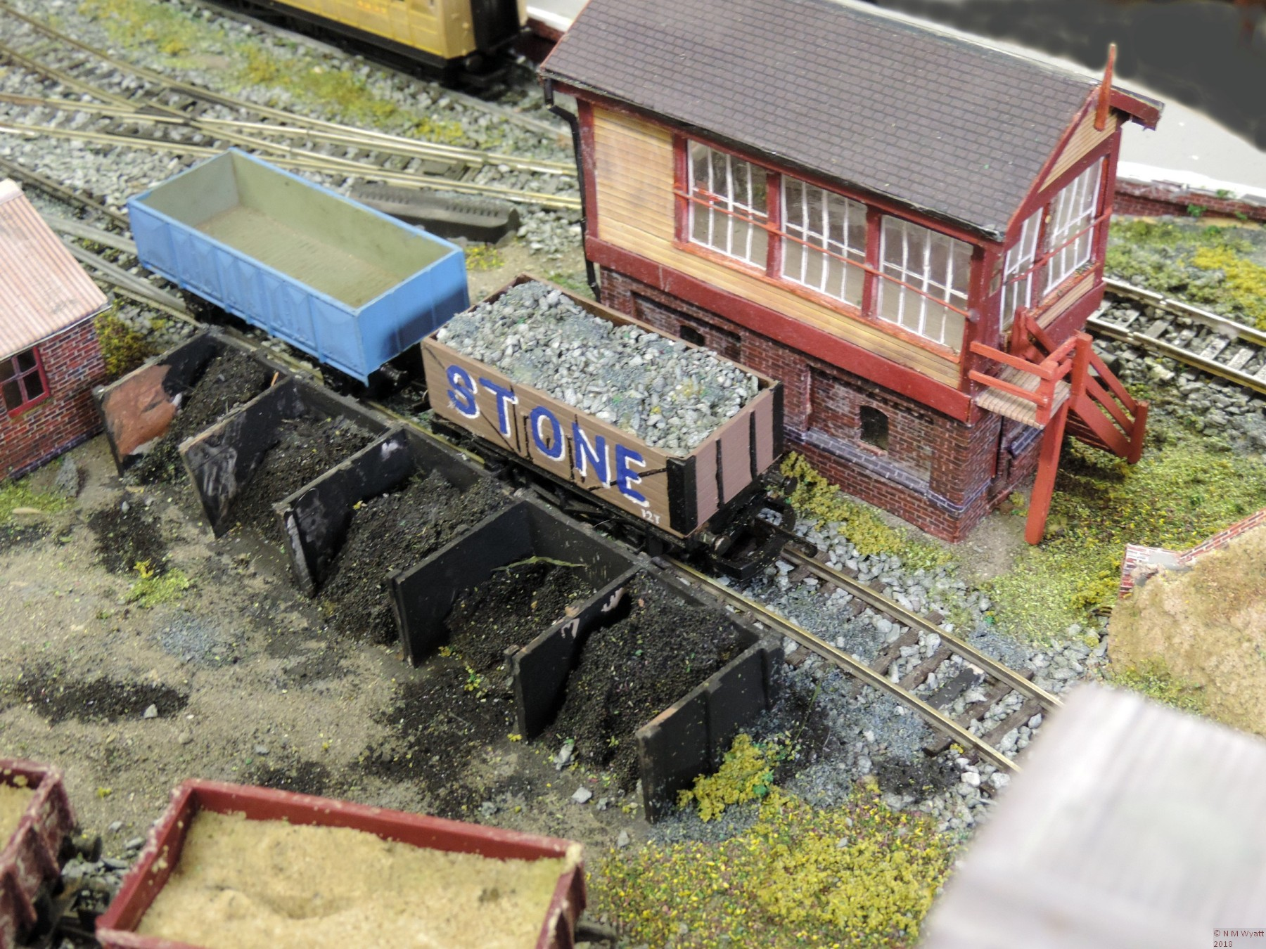 Scratch built railway buildings and re-painted wagons.